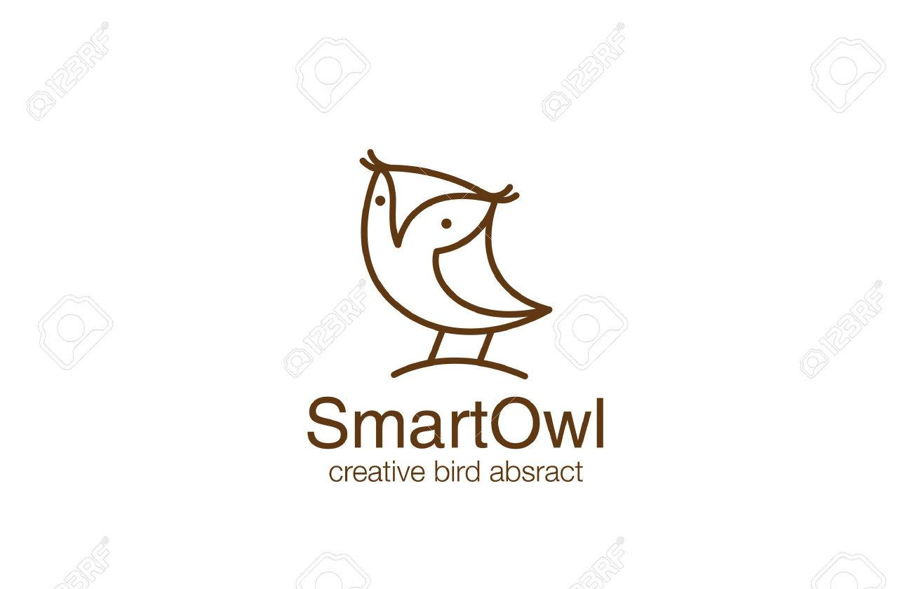 funny owl logo design vector template linear style wizdom