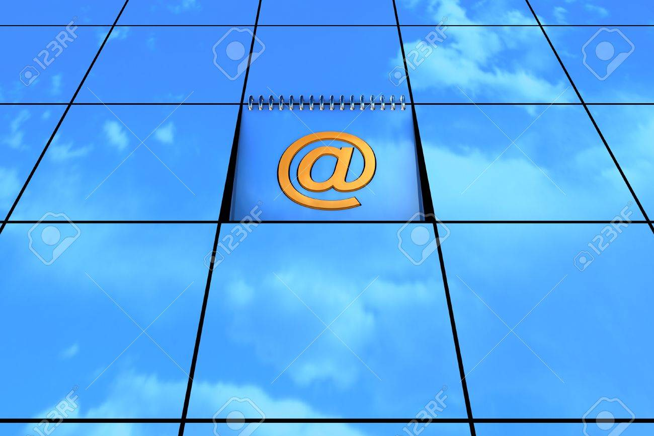 Blue background with email symbol available for background Stock Photo - 14383004