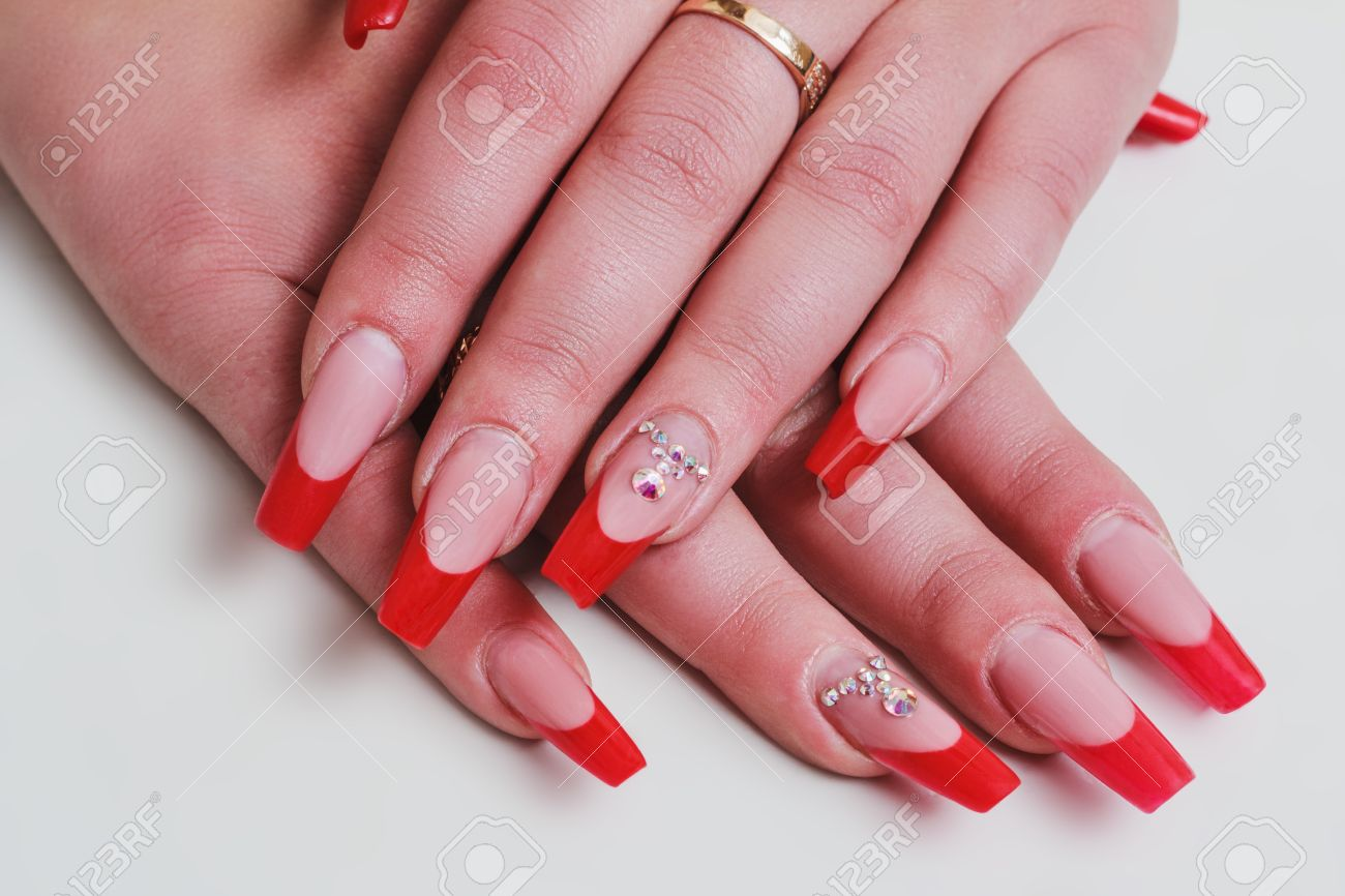 Red French Nail Art With Rhinestones On White Background Stock Photo ...