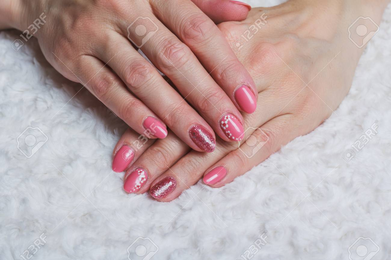 Pink Nail Art With Flower On White Textile Stock Photo Picture And