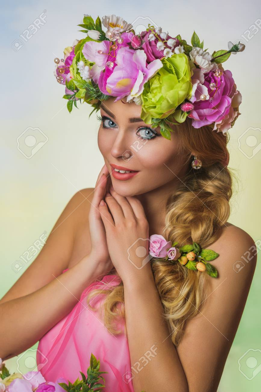 Beautiful ukrainian bride with large pink flower crown stock photo beautiful ukrainian bride with large pink flower crown stock photo 73871038 izmirmasajfo