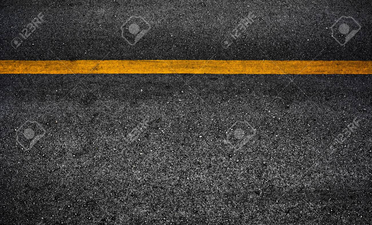 Yellow paint line on black asphalt. space transportation background - 148241275