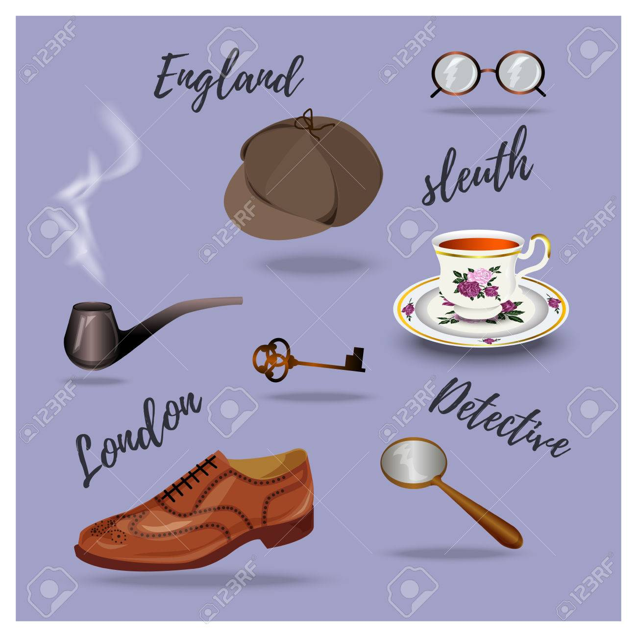 Detective Vector Set. Retro Accessories, Hand Drawing Royalty Free ...