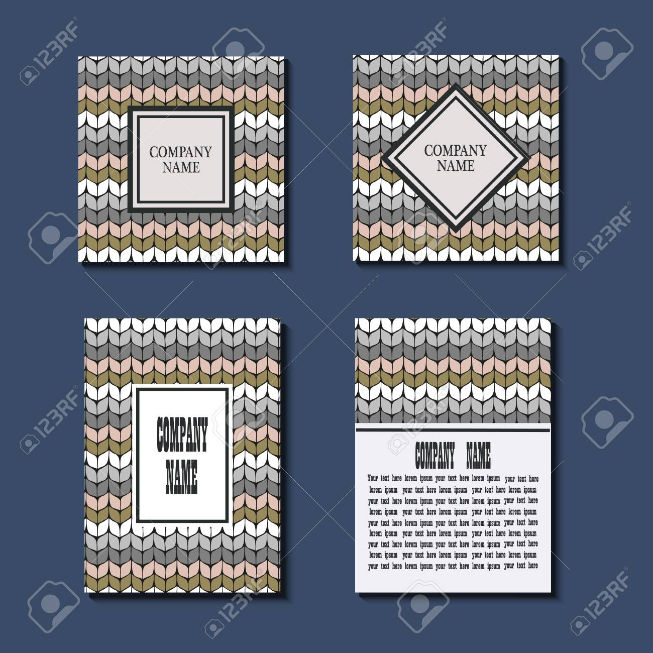 flyer template with knitting pattern greeting card design front