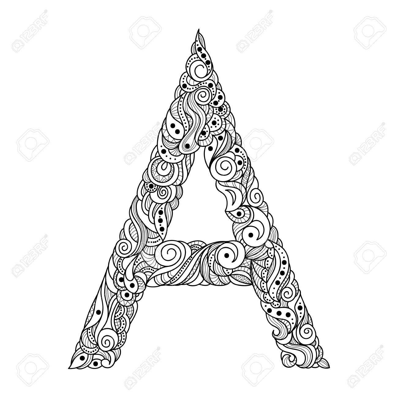 Buchstaben A. Dekorative Alphabet Mit Einem Paisley Zen Doodle ...