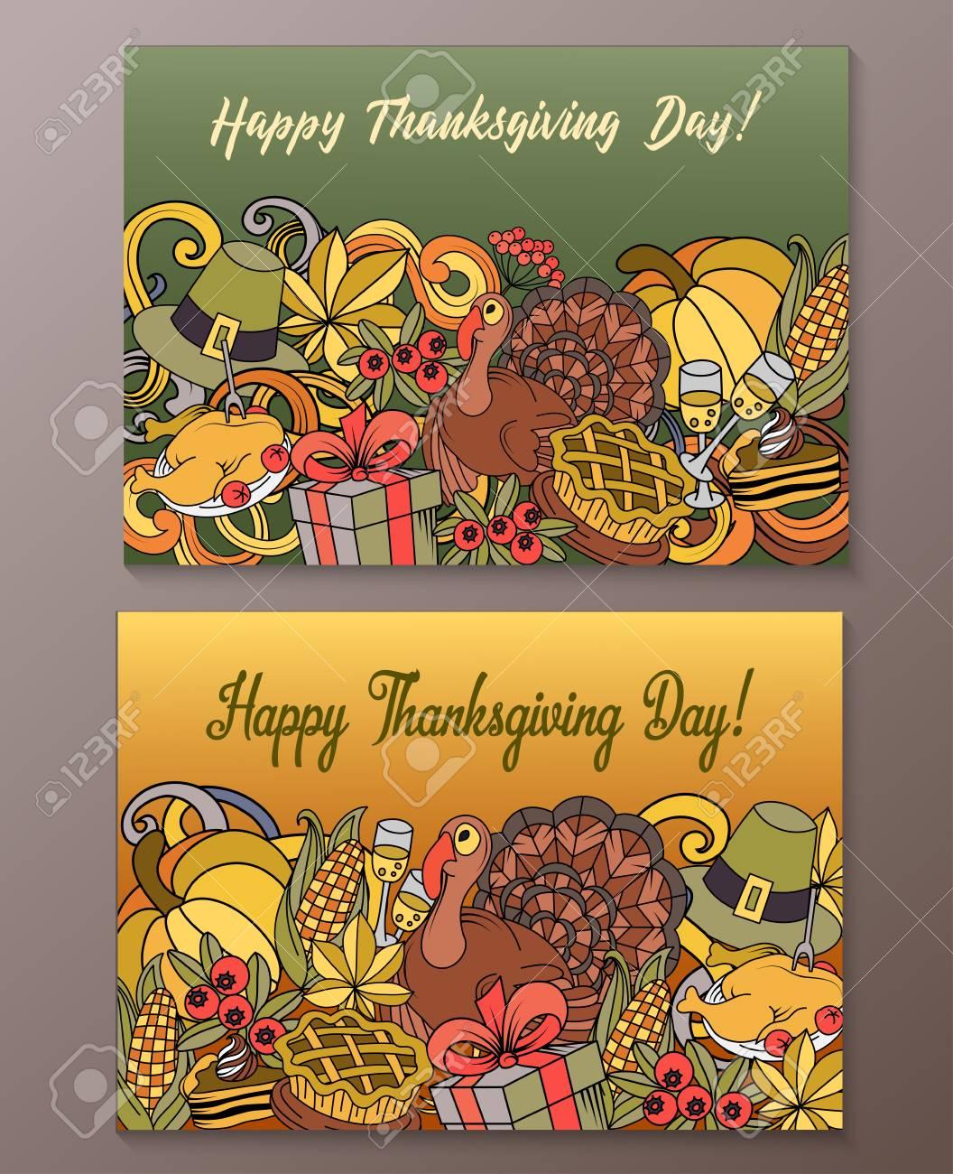 Cartoon vector hand drawn doodle happy thanksgiving day cards cartoon vector hand drawn doodle happy thanksgiving day cards horizontal banners design templates set m4hsunfo