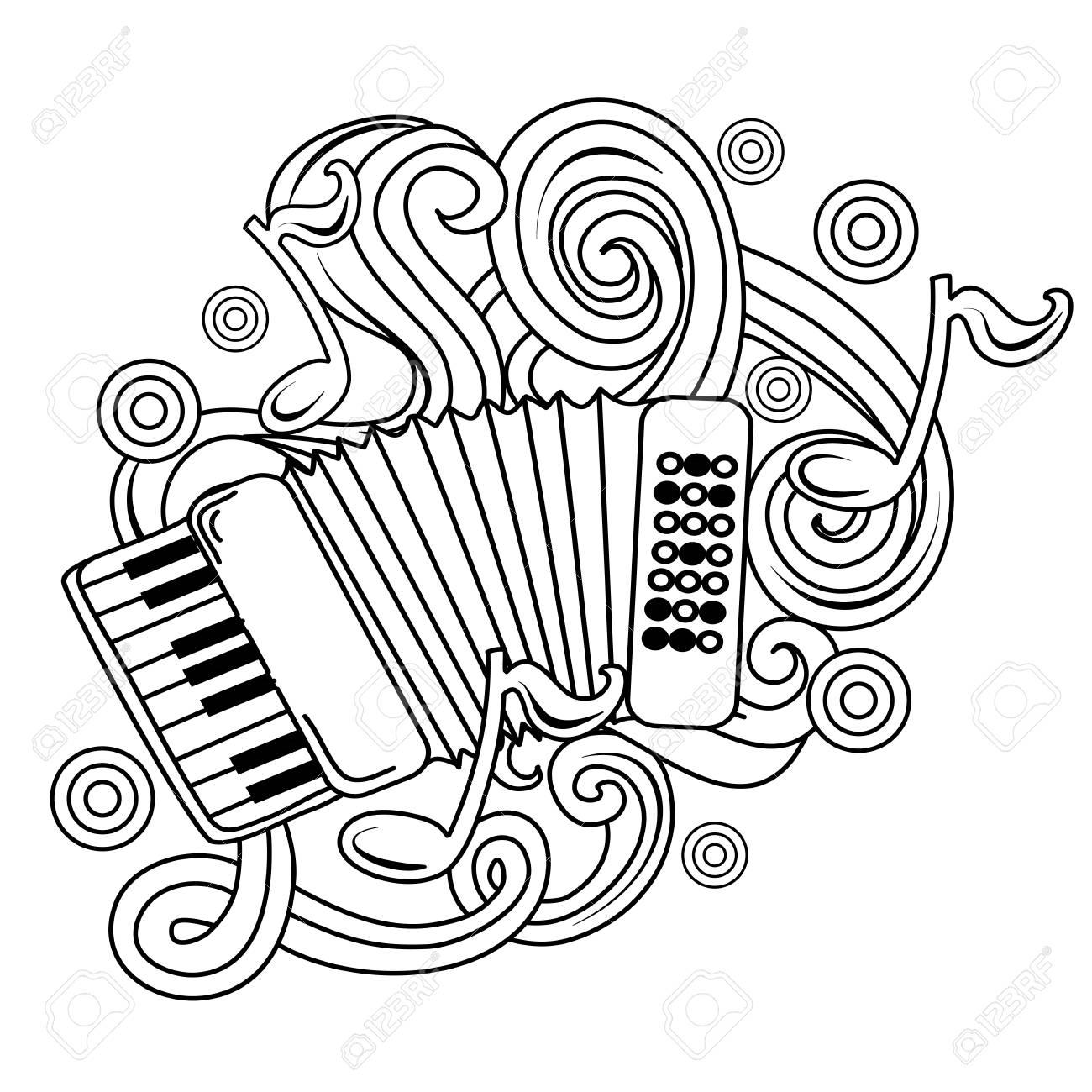 Dessin Animé Doodles Dessinés à La Main Illustration Musicale Fond De Vecteur De Croquis Avec Accordéon Et Objets Abstraits
