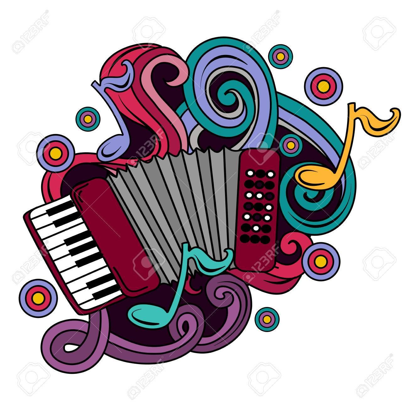 Garabatos Dibujado A Mano Ilustración De Dibujos Animados Musical ...