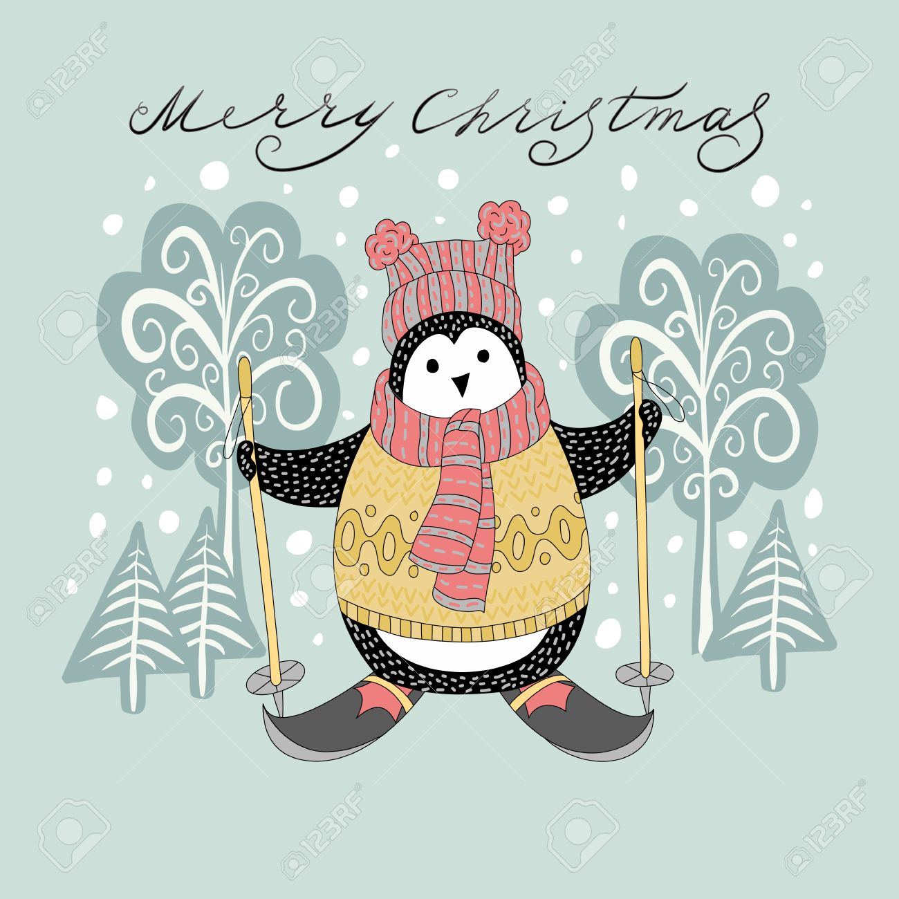 Cute Hand Drawn Penguins By Ski Merry Christmas Greetings Royalty