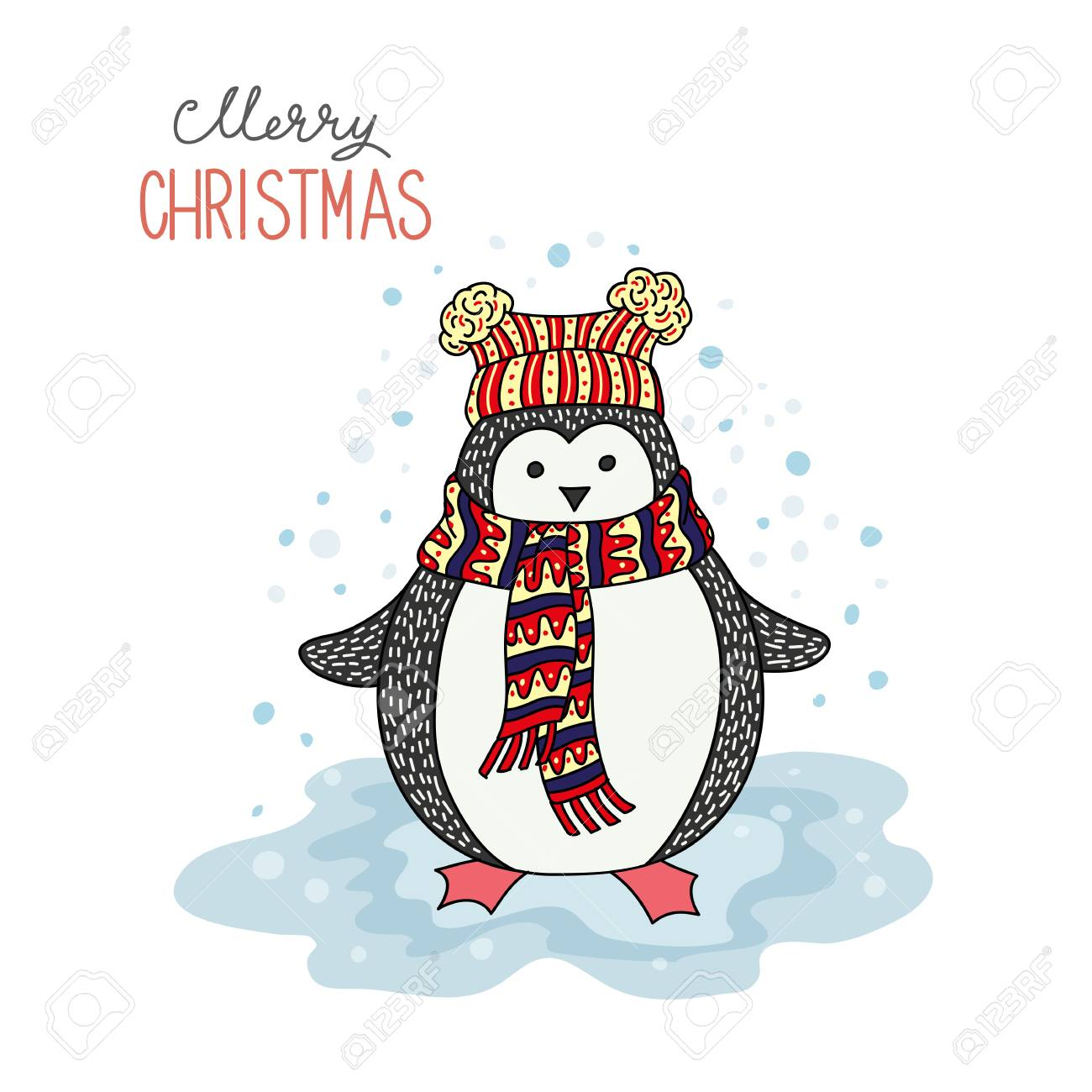 Cute Hand Drawn Penguin Merry Christmas Greetings Royalty Free