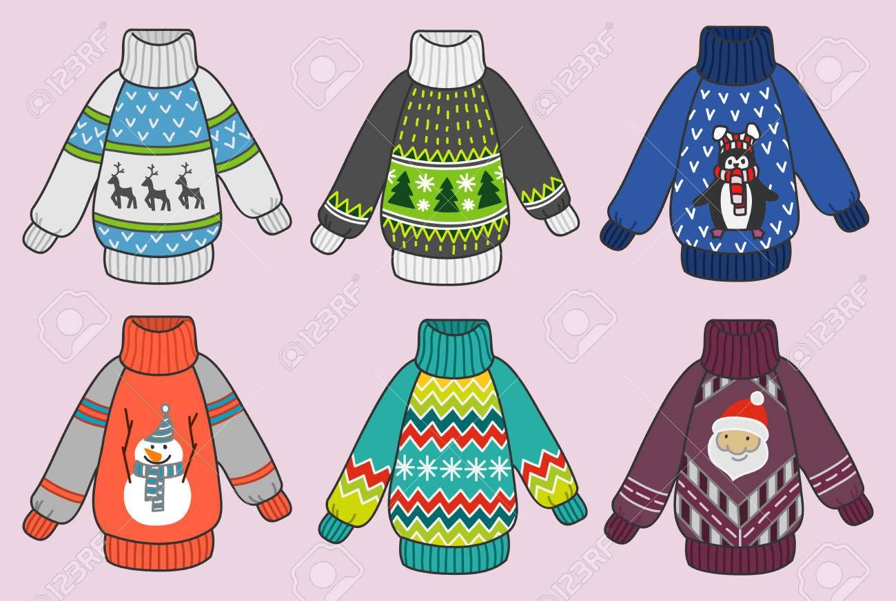 Nette Bunte Weihnachten Pullover Vektor-Set, Pullover Partei Clip ...