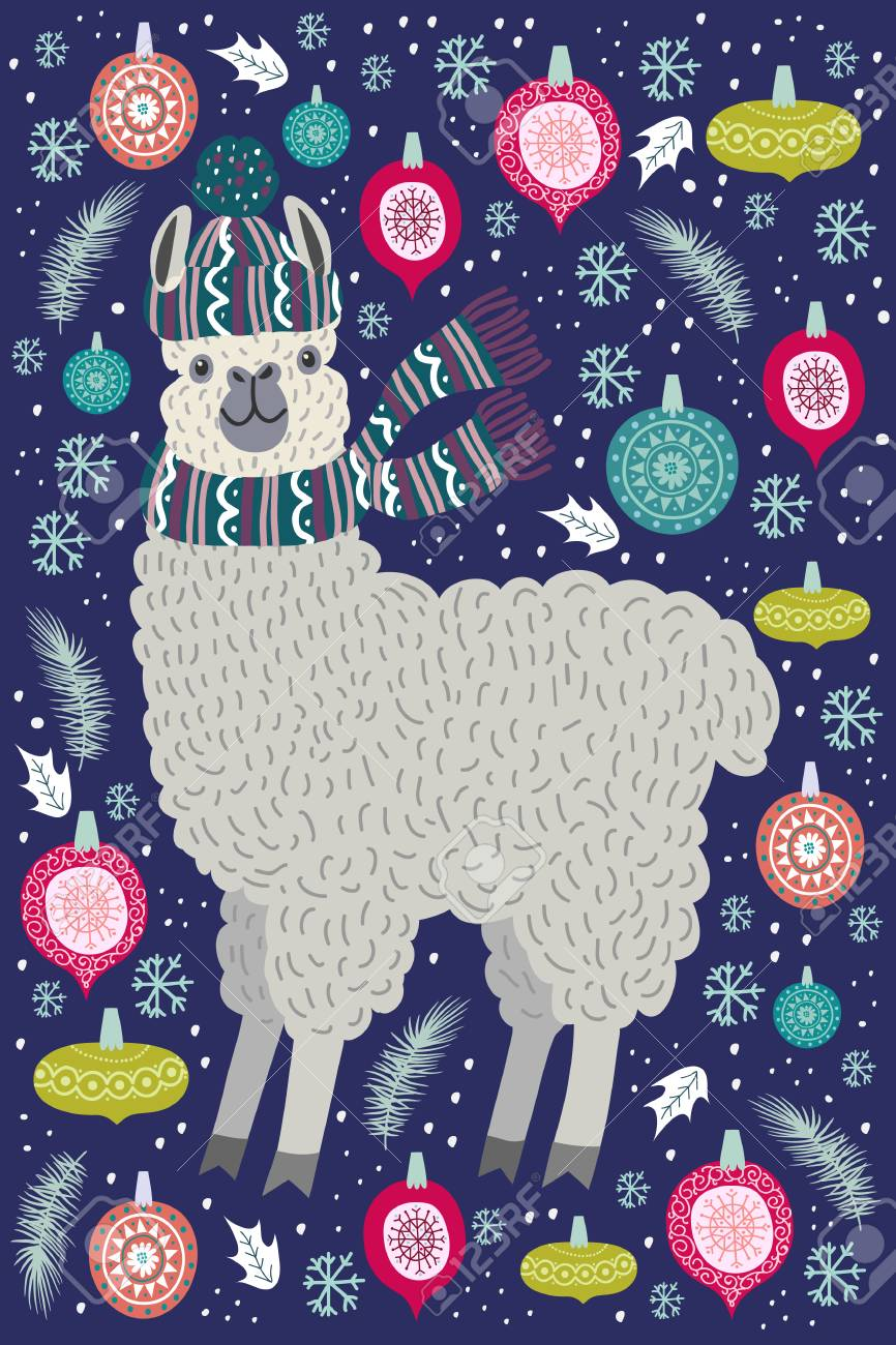 Llama Christmas Tree.Cute Llama Surrounded By Christmas Tree Toys Template For Card