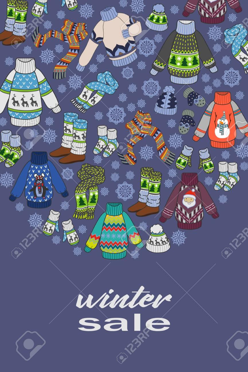 winter sale doodles seasonal clothes flyer template or postcards