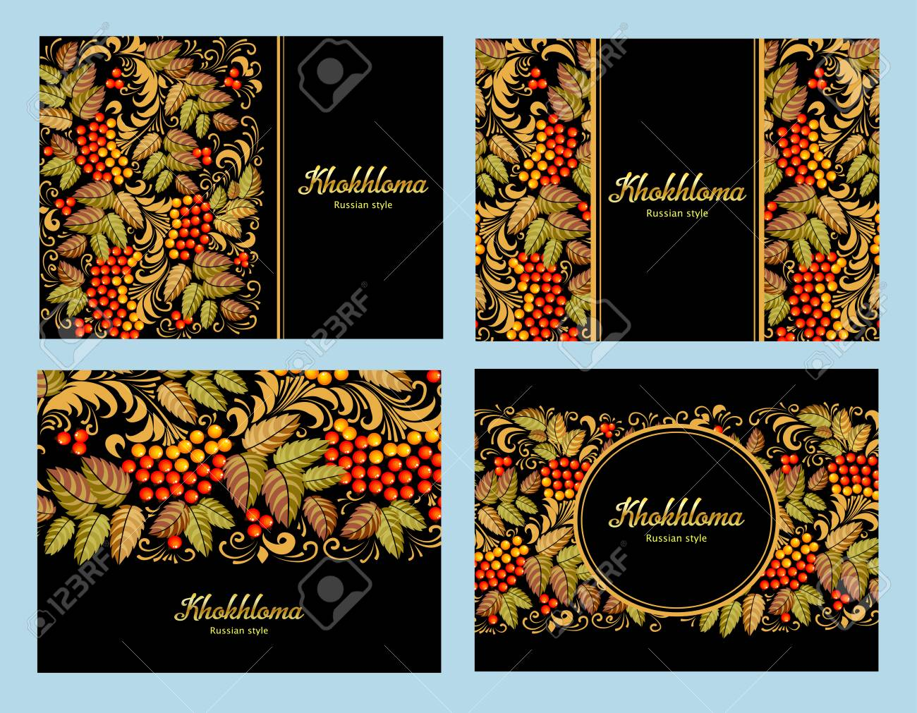 Russian Khokhloma painting ,Russian style decoration and design element, vector graphics. Banners with text - 121369987