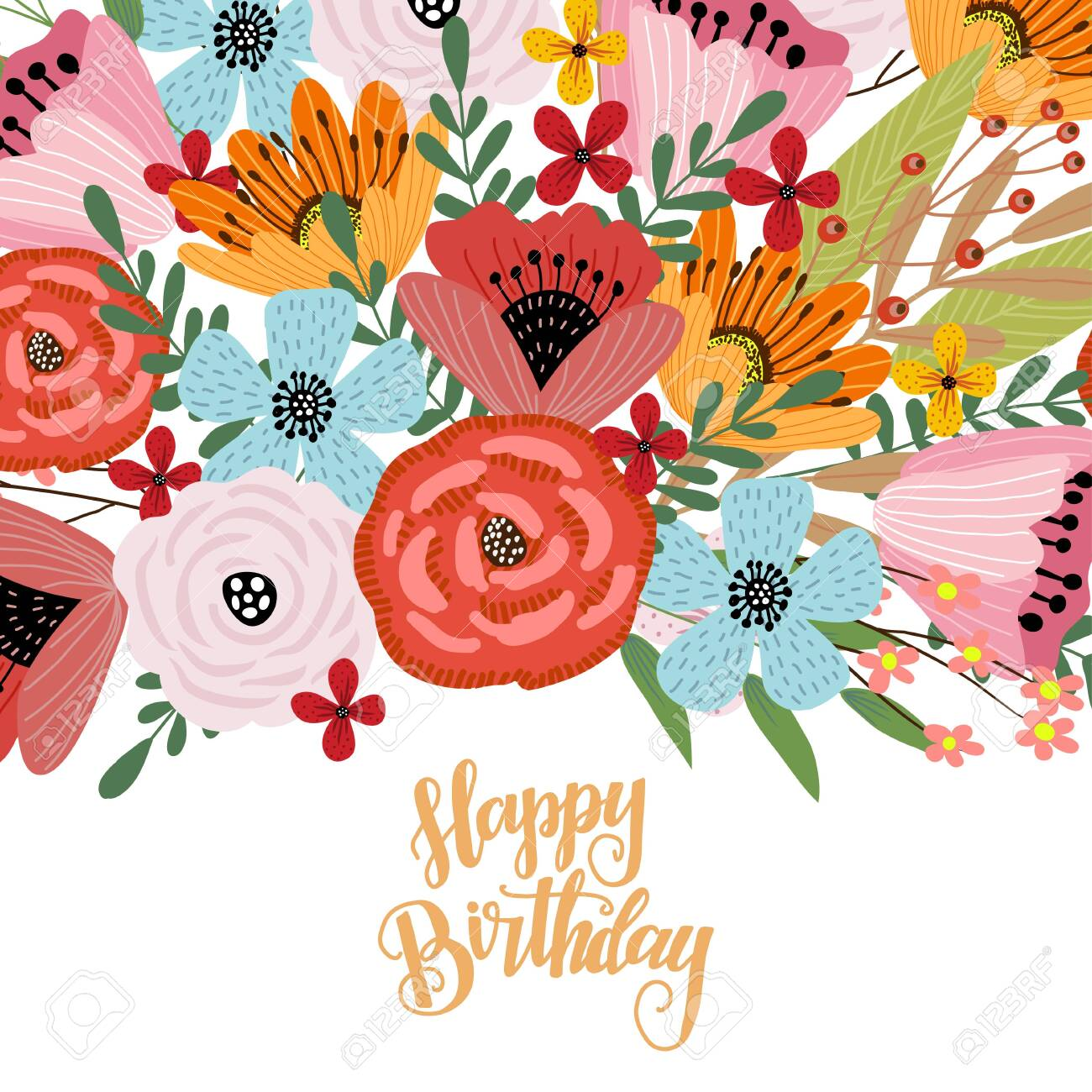 Happy birthday. Postcard template with cute hand drawing bright..
