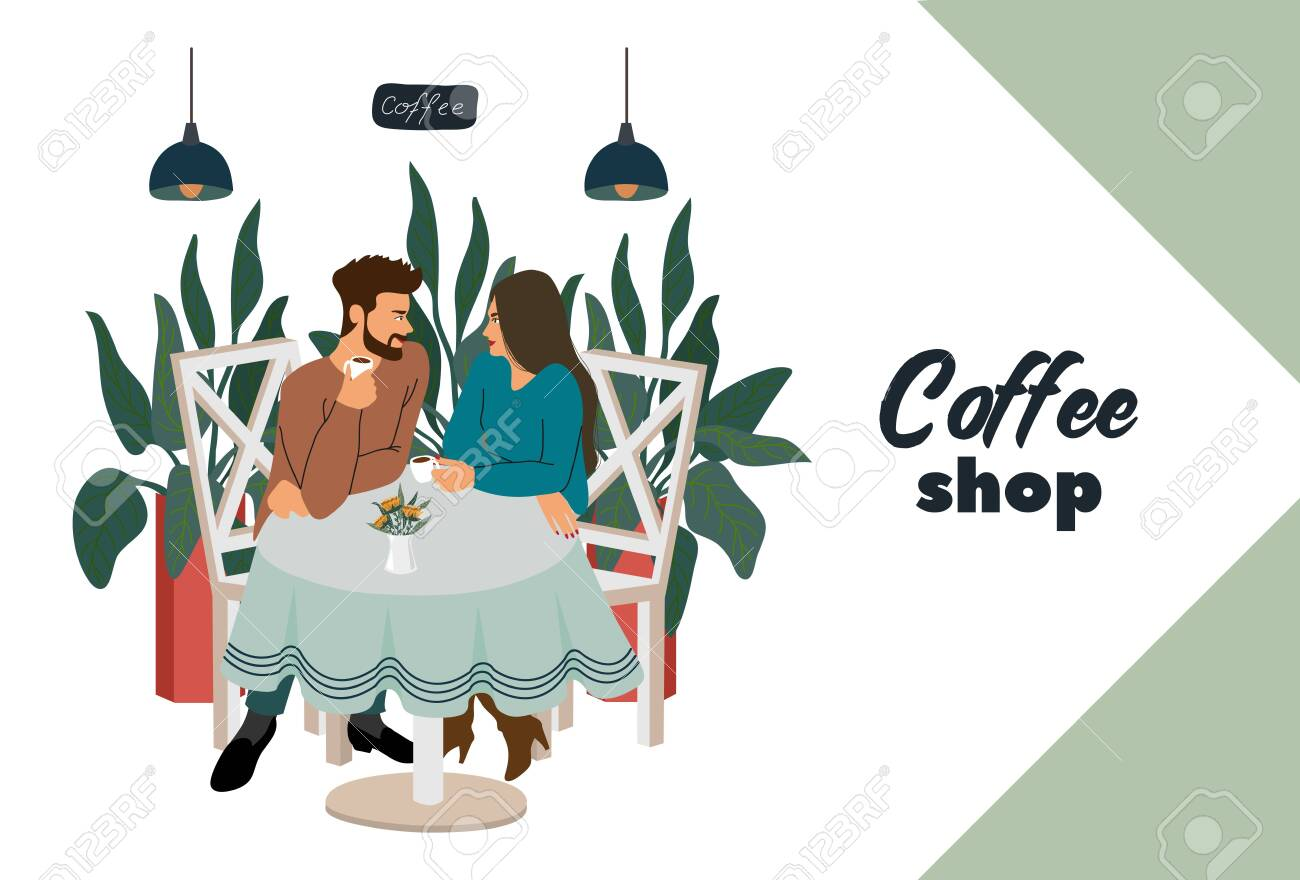 Coffee shop with visitors, young couple sitting at the table. Modern flat vector concept illustration for small business - 131494124