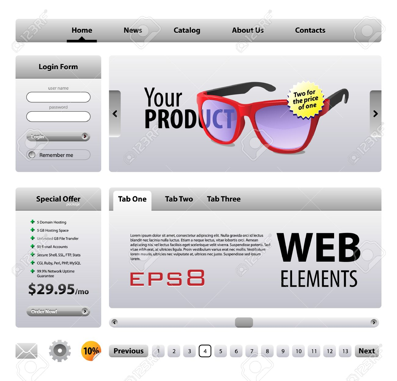 perfect web elements template design gray buttons form slider
