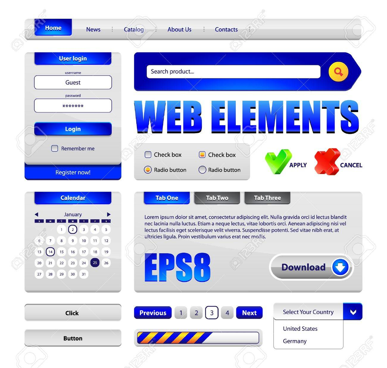 Hi-End Web Interface Design Elements Version 2  buttons, menu, progress bar, radio button, check box, login form, search, pagination, icons, tabs, calendar Stock Vector - 13758614