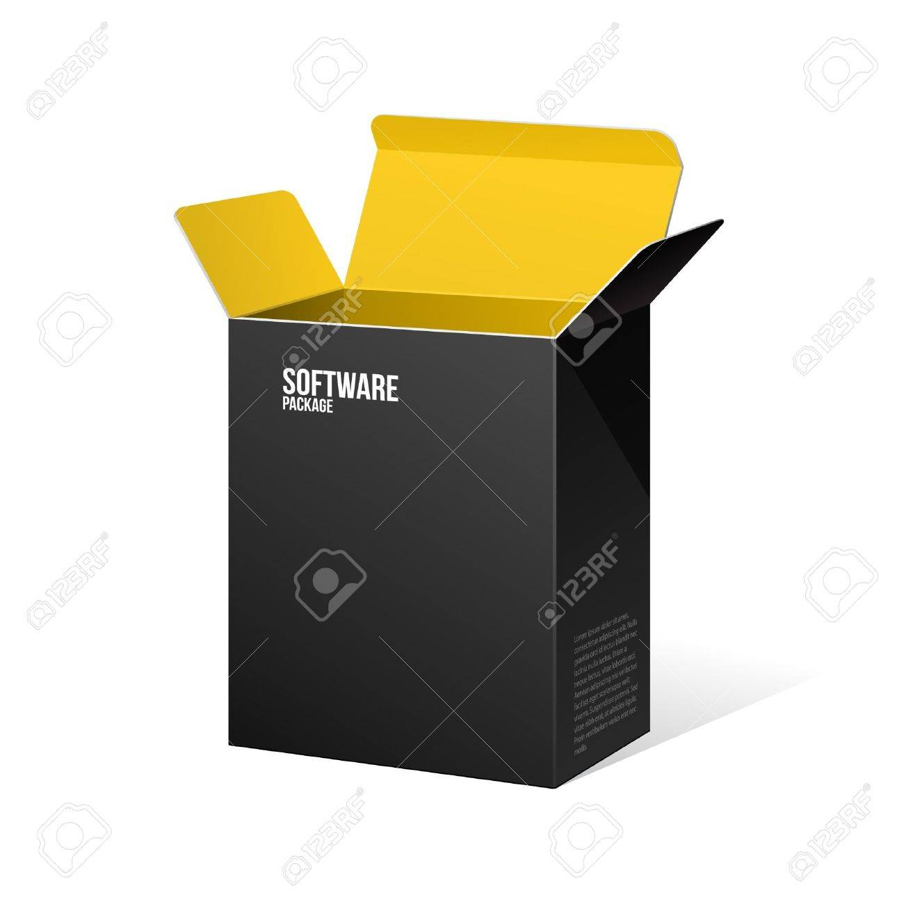 Software Package Box Opened Black Inside Yellow Orange - 13764911