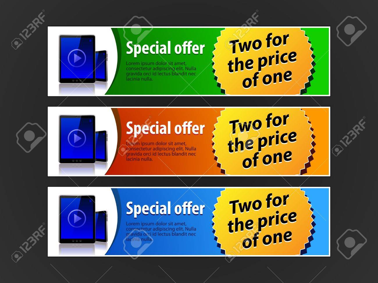 Special Offer Banner Set Colored 5  Blue, Red, Green  Showing Products Purchase Button Pad Stock Vector - 13764905