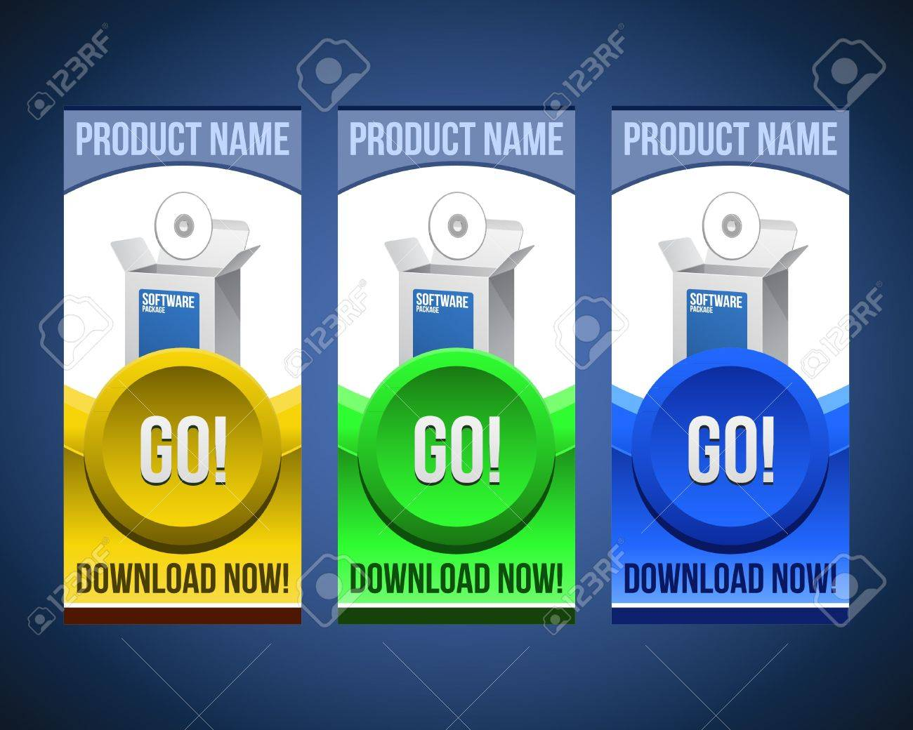 Colorful Software Banner Set With Big Button: Version 2 Stock Vector - 14461576