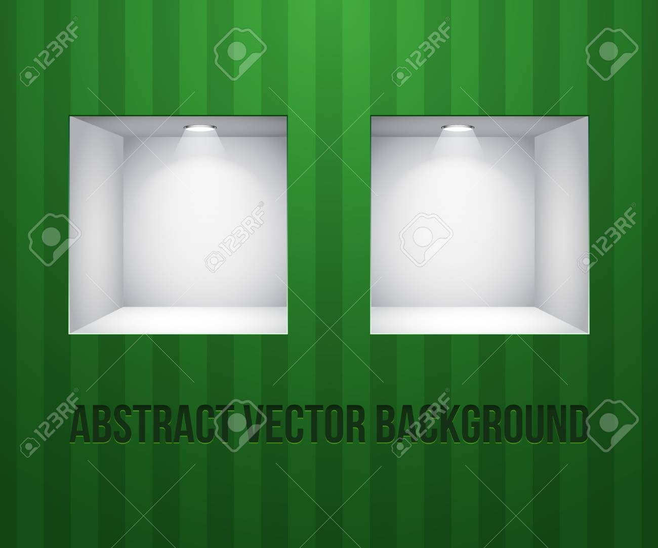 Two Empty Shelves For Exhibit In The Wall Green On Striped Green Wall Stock Vector - 14668538