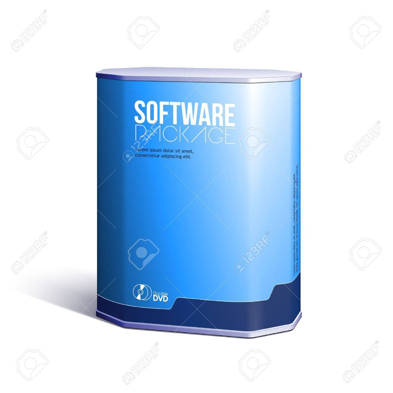Octagon Plastic Software DVD/CD Disk Package Box Blue Stock Vector - 14668525