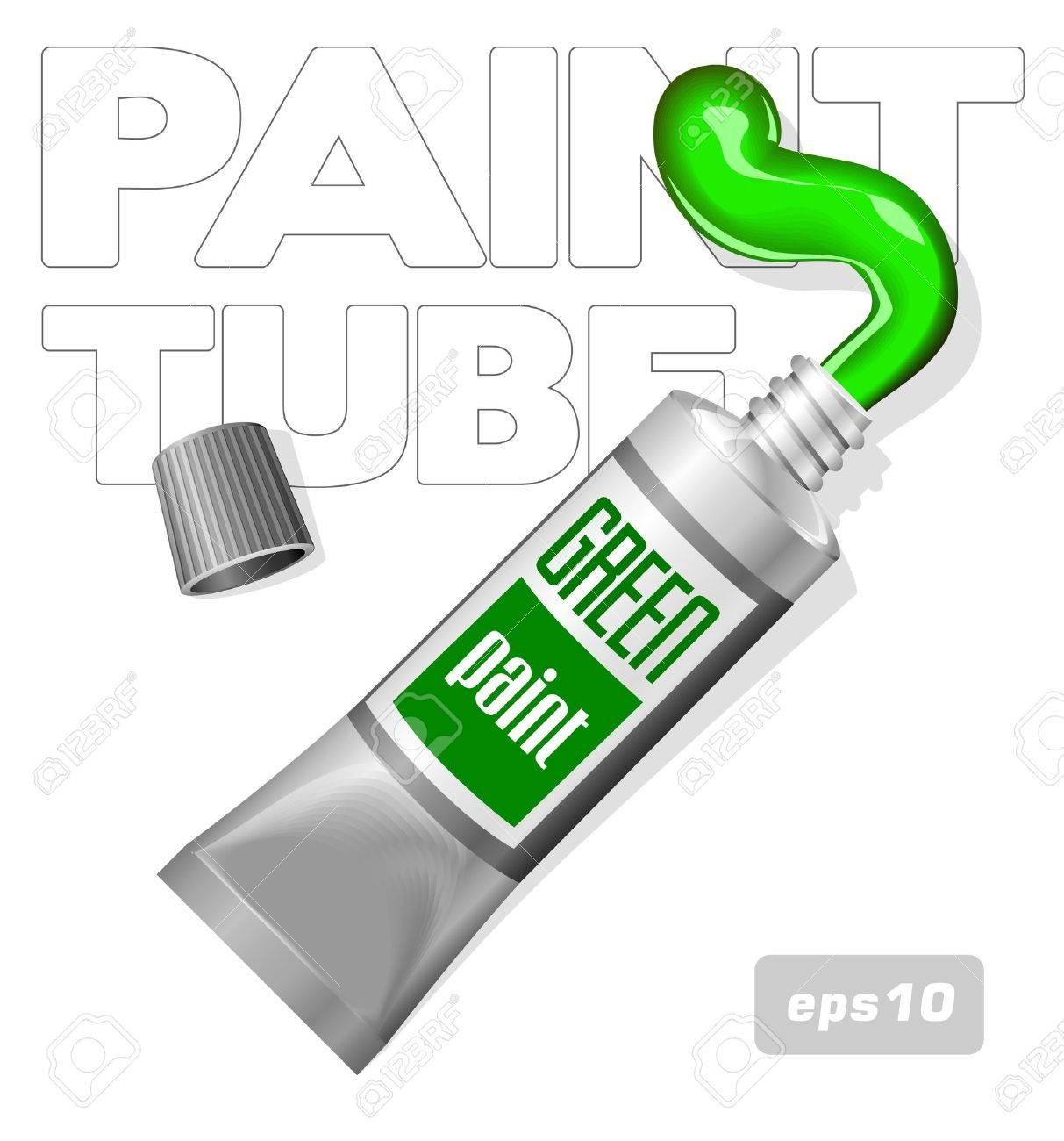Green Paint In Aluminum Tube Stock Vector - 14668547