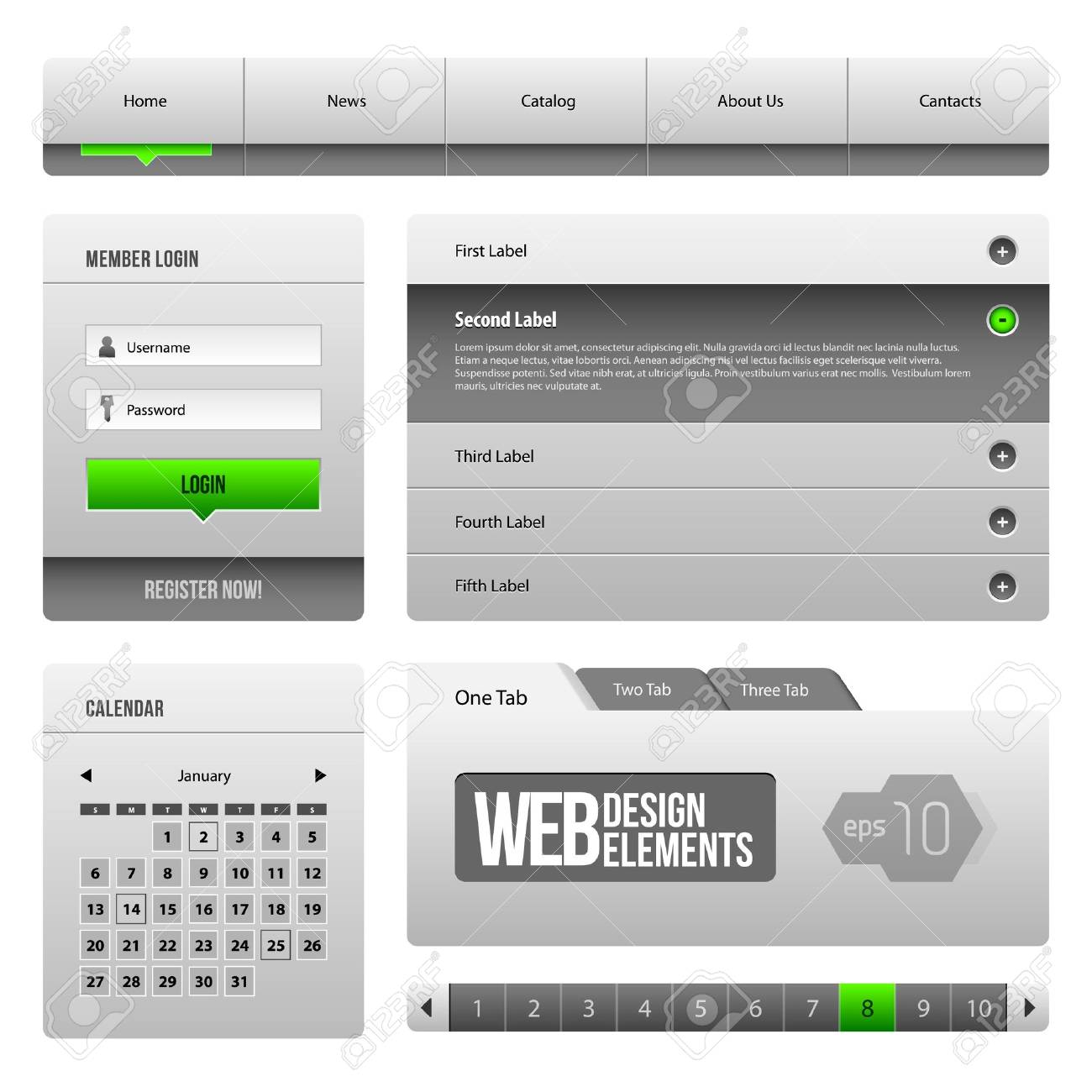 Modern Clean Website Design Elements Grey Green Gray 3: Buttons, Form, Slider, Scroll, Carousel, Icons, Menu, Navigation Bar, Download, Pagination, Video, Player, Tab, Accordion, Search, Stock Vector - 14668555