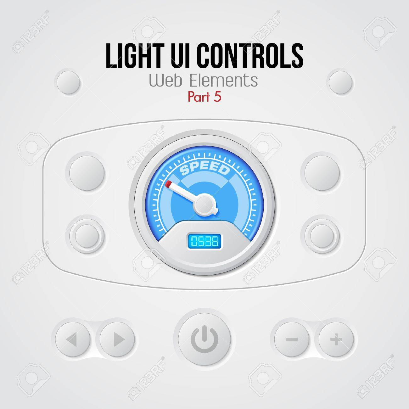 Light UI Controls Web Elements 5  Buttons, Switchers, On, Off, Player, Audio, Video, Volume, Speed Indicator, Speedometer Stock Vector - 14987853