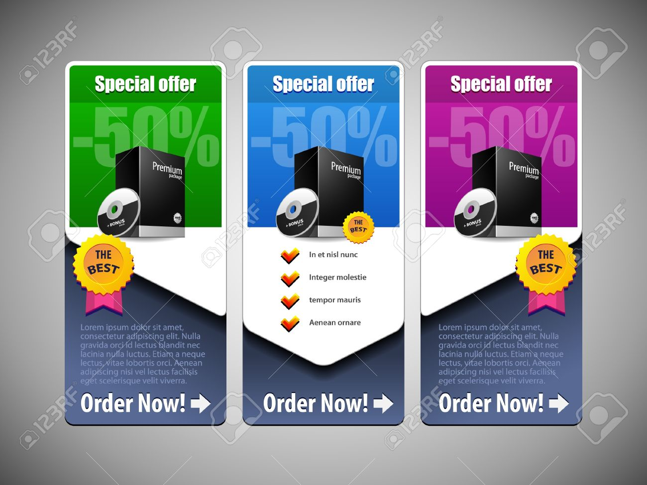 Special Offer Banner Set Colored 21  Blue, Purple, Violet, Green  Showing Products Purchase Button Stock Vector - 14987849