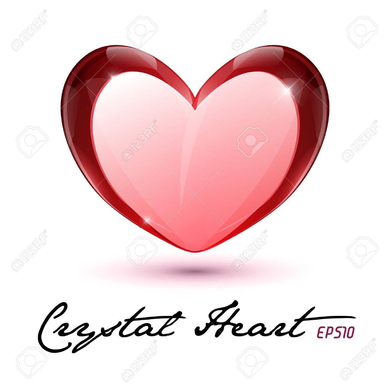 Crystal Heart Shiny Glass Rock Red Valentine s Day  illustration Postcard Or Banner Stock Vector - 17311062