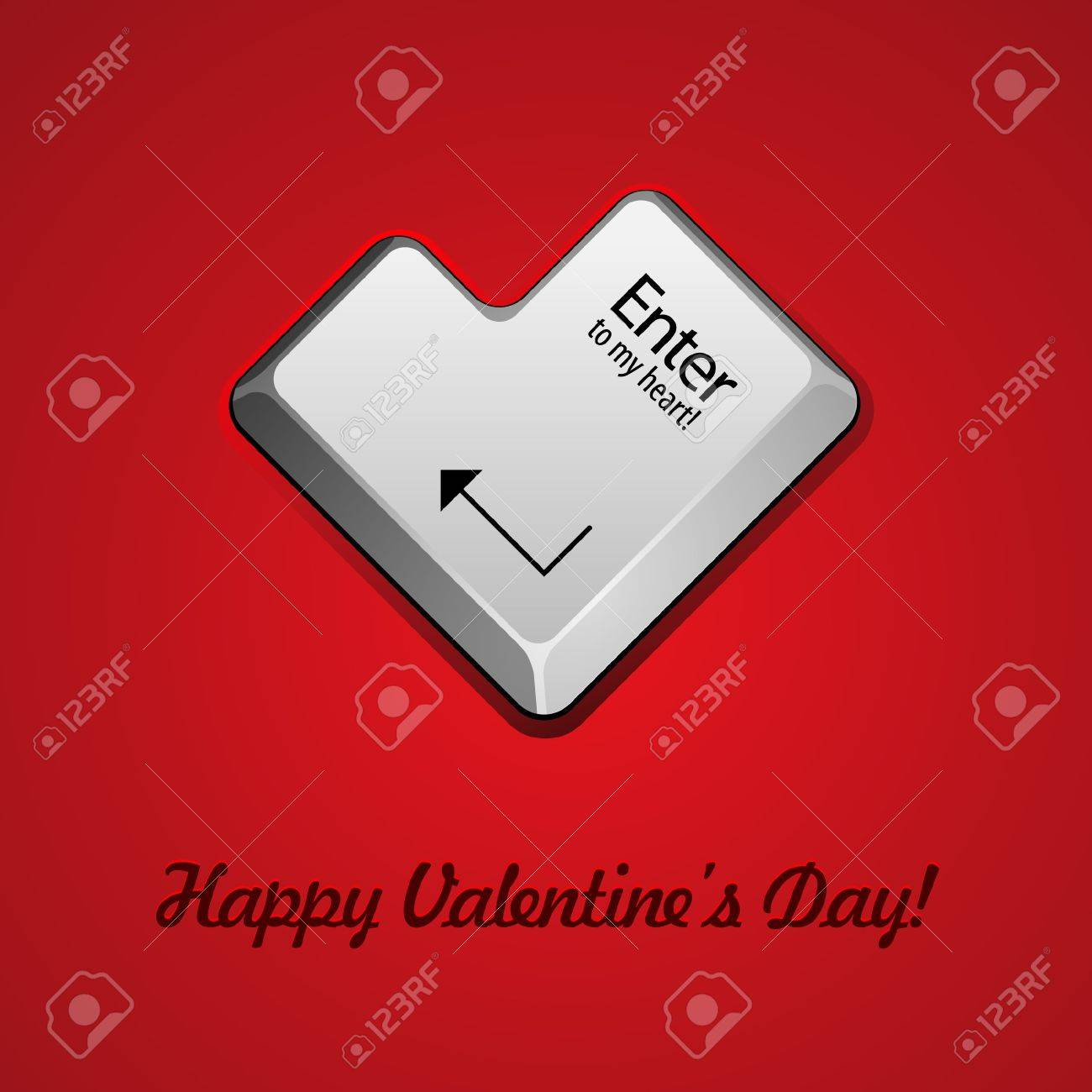 Enter Button Like Heart Valentine s Day  Background Stock Vector - 17310987