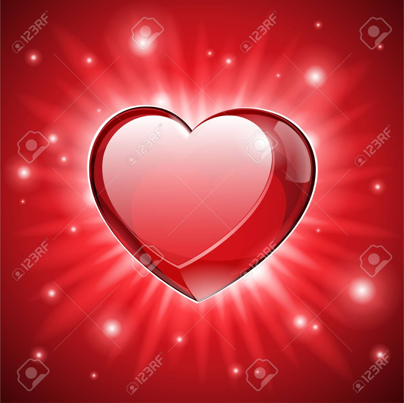 Explosion Red Glass Shiny Lovely Heart Valentine s Day illustration Postcard Or Banner Stock Vector - 17311080