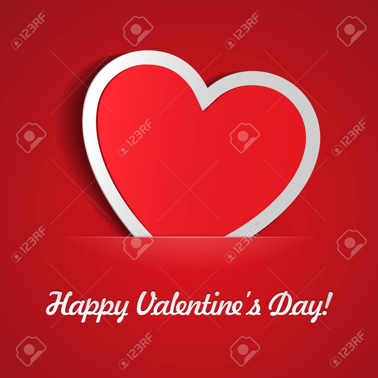 Red Heart Paper Sticker With Shadow Valentine s day vector illustration Postcard Stock Vector - 17472474
