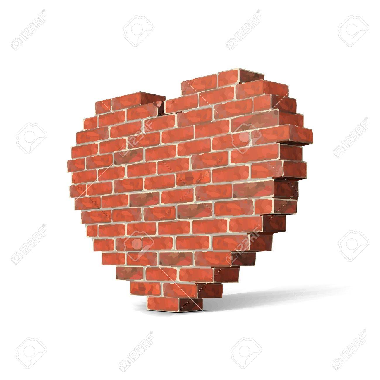 Valentine s Day Brick Wall Like Heart Isolated On White Background  Vector Stock Vector - 17467013