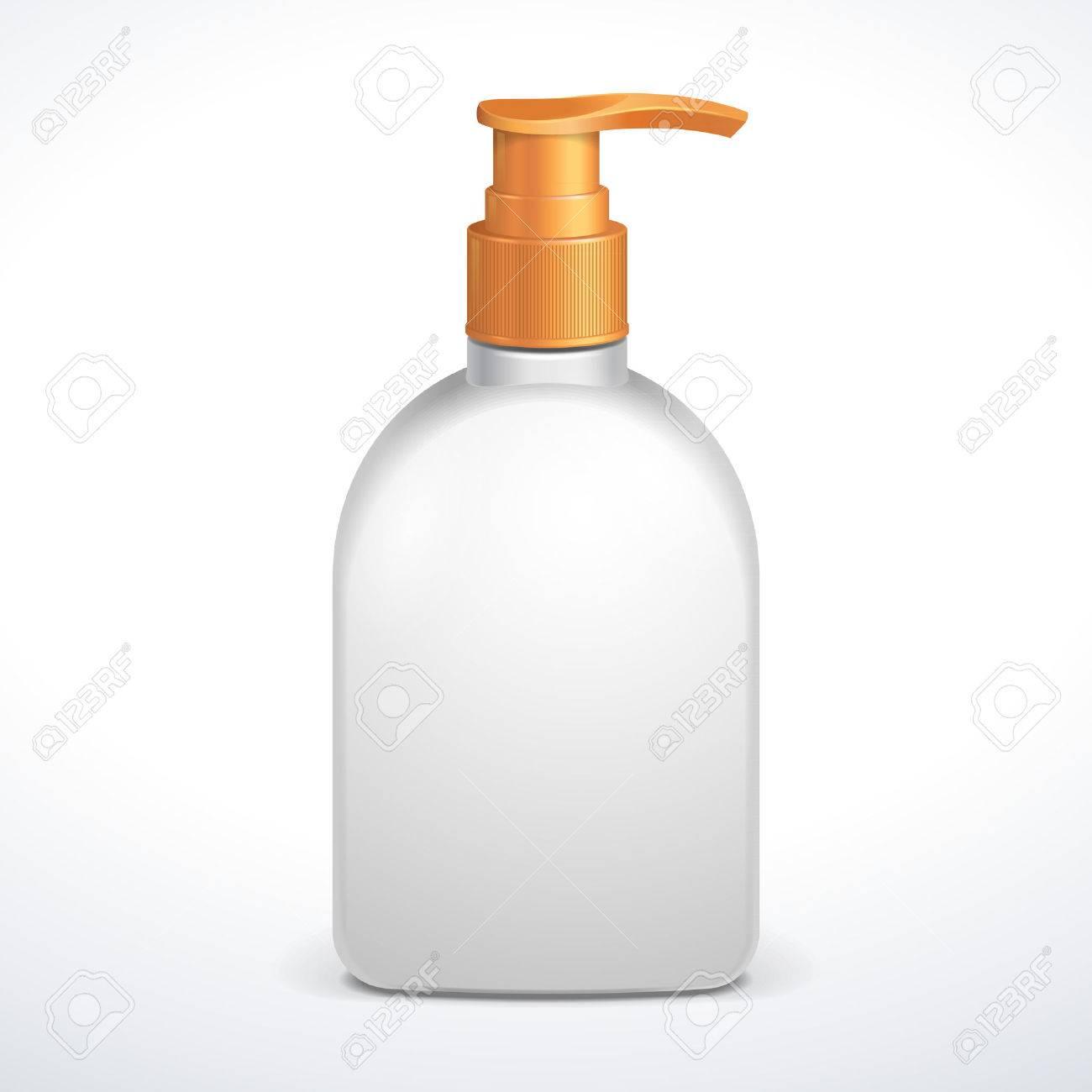Kunststoff Reinigen Weissen Flasche Mit Gelb Dosierpumpe Duschgel