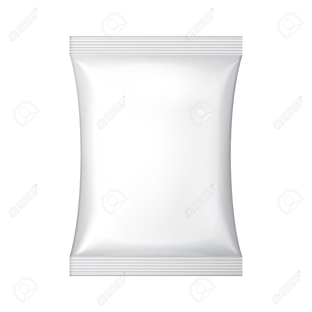 White Blank Foil Food Snack Sachet Bag Hang Slot Packaging For Coffee, Salt, Sugar, Pepper, Spices, Sachet, Sweets, Chips, Cookies Or Candy Plastic Pack Template Ready For Your Design Vector EPS10 - 30317708