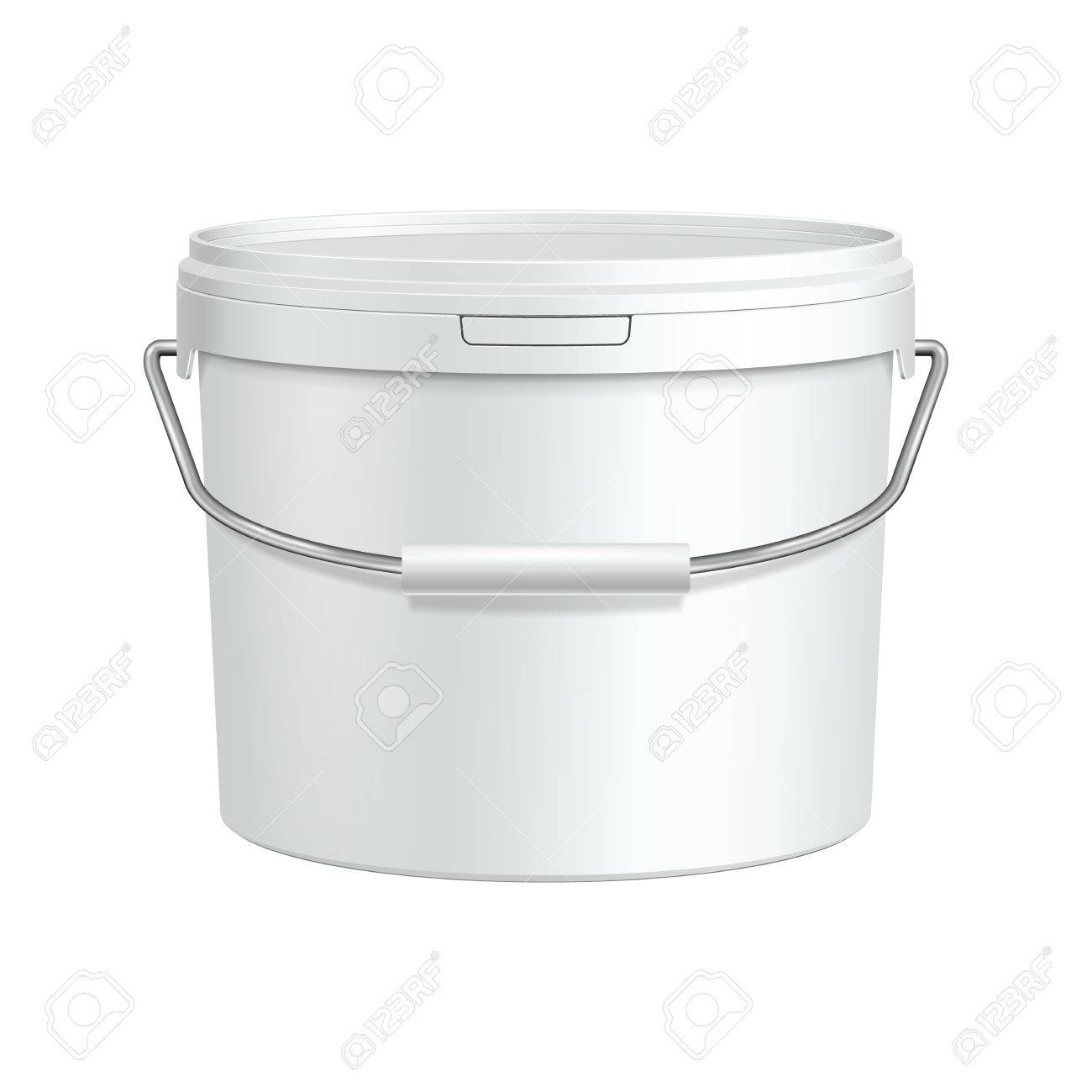 White Tub Paint Plastic Bucket Container With Metal Handle  Plaster, Putty, Toner  Ready For Your Design  Product Packing Vector EPS10 Stock Vector - 30405271