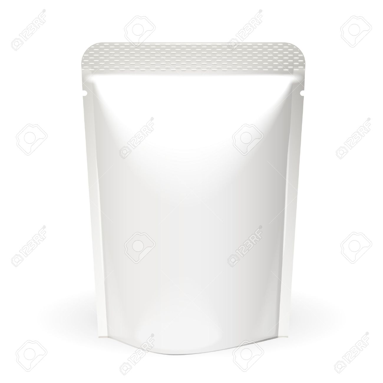 White Mock Up Blank Foil Food Or Drink Doypack Bag Packaging. Plastic Pack Template Ready For Your Design. Vector EPS10 - 37122598