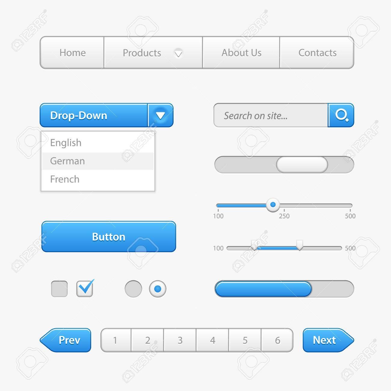 Blue Light User Interface Controls. Web Elements. Website, Software UI: Buttons, Switchers, Arrows, Drop-down, Navigation, Menu, Check Box, Radio, Scroller, Progress Bar, Pagination, Input Search - 50001797