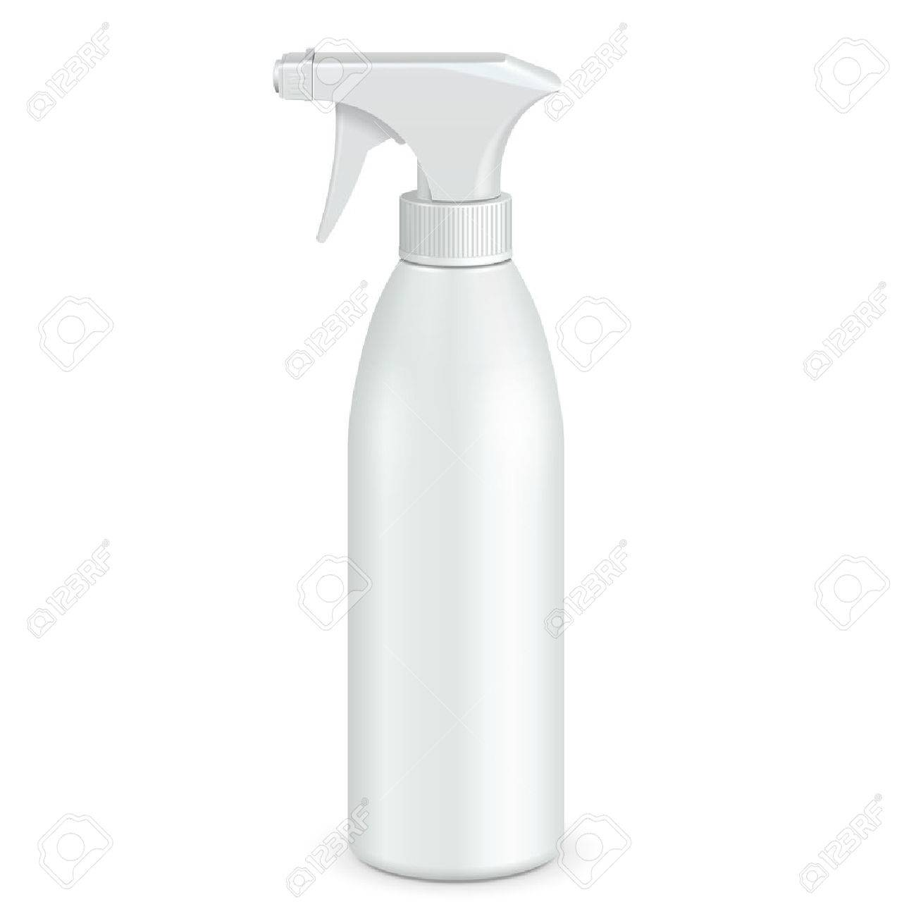 Spray Pistol Cleaner Plastic Bottle White. Illustration Isolated On White Background. Ready For Your Design. Product Packing. Vector - 57081287