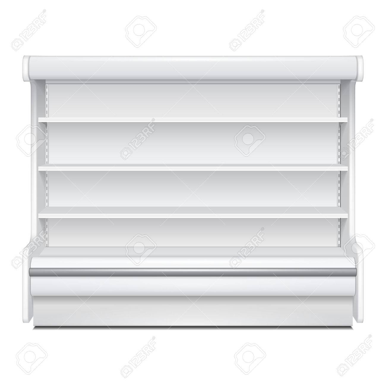Cooled Regal Rack Refrigerator Wall Cabinet Blank Empty Showcase Displays. Retail Shelves. 3D Products On White Background Isolated. Mock Up Ready For Your Design. Product Packing. Vector EPS10 - 59206365
