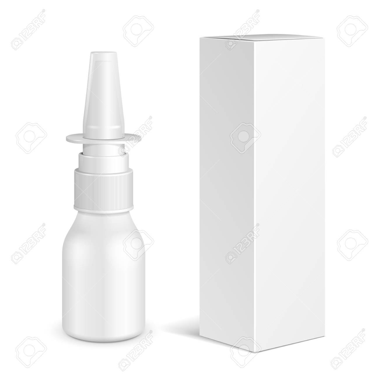 Spray Medical Nasal Antiseptic Drugs Plastic Bottle With Box. Common Cold, Allergies. Mock Up Ready For Your Design. Illustration Isolated On White Background. Vector EPS10 - 96303391