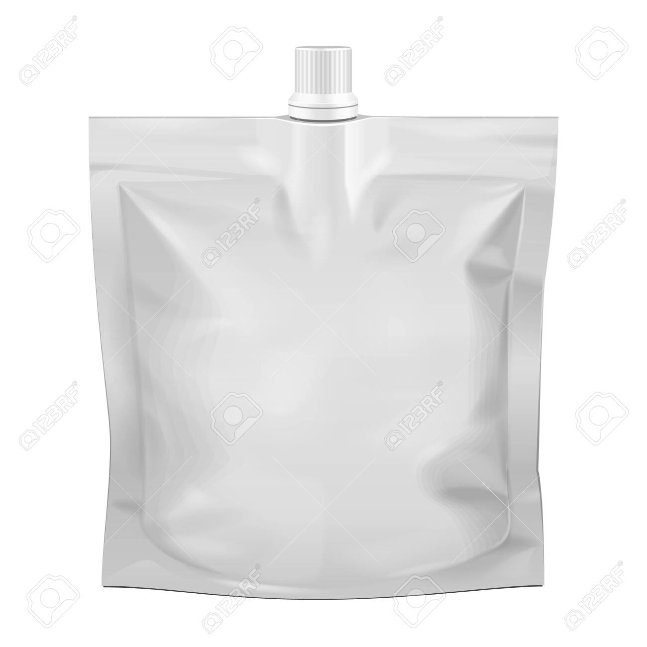 Blank Food Stand Up Flexible Pouch Snack Sachet Bag With Spout Lid. Mock Up, Template. Illustration Isolated On White Background. Ready For Your Design. Product Packaging. Vector EPS10 - 123084797