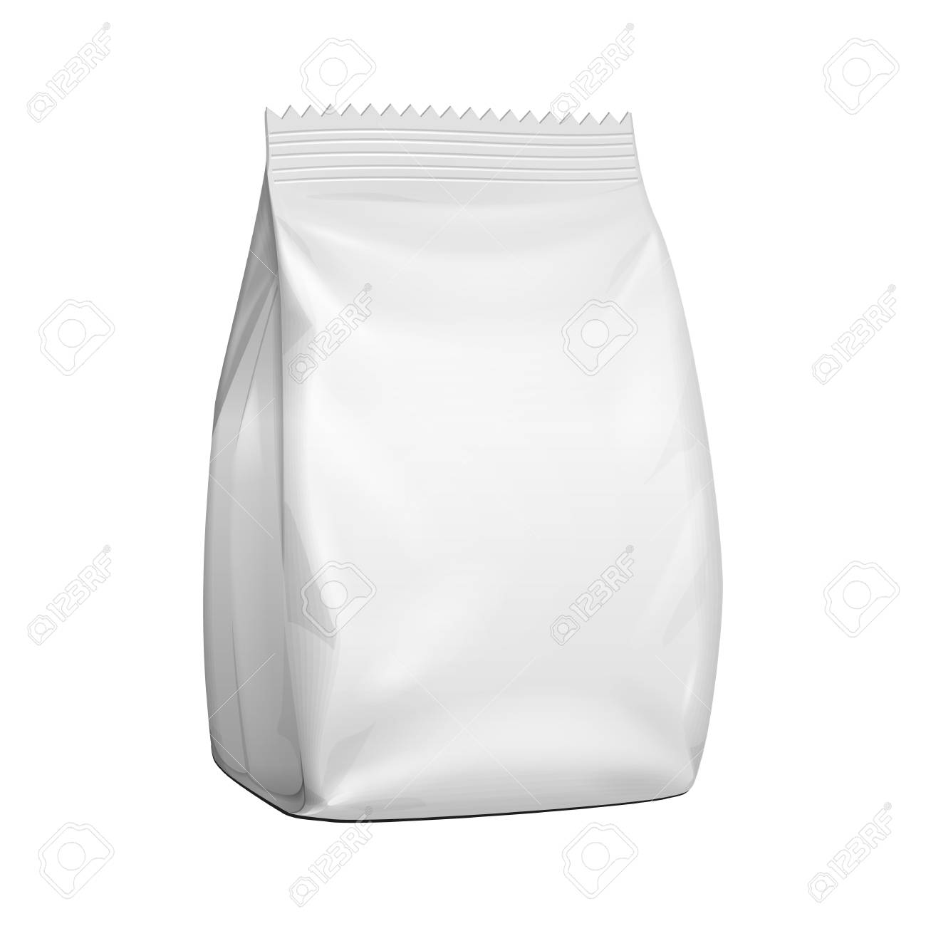 Mockup Blank Stand Up Pouch Snack Sachet Bag. Mock Up, Template. Illustration Isolated On White Background. Ready For Your Design. Product Packaging. Vector EPS10 - 122826969