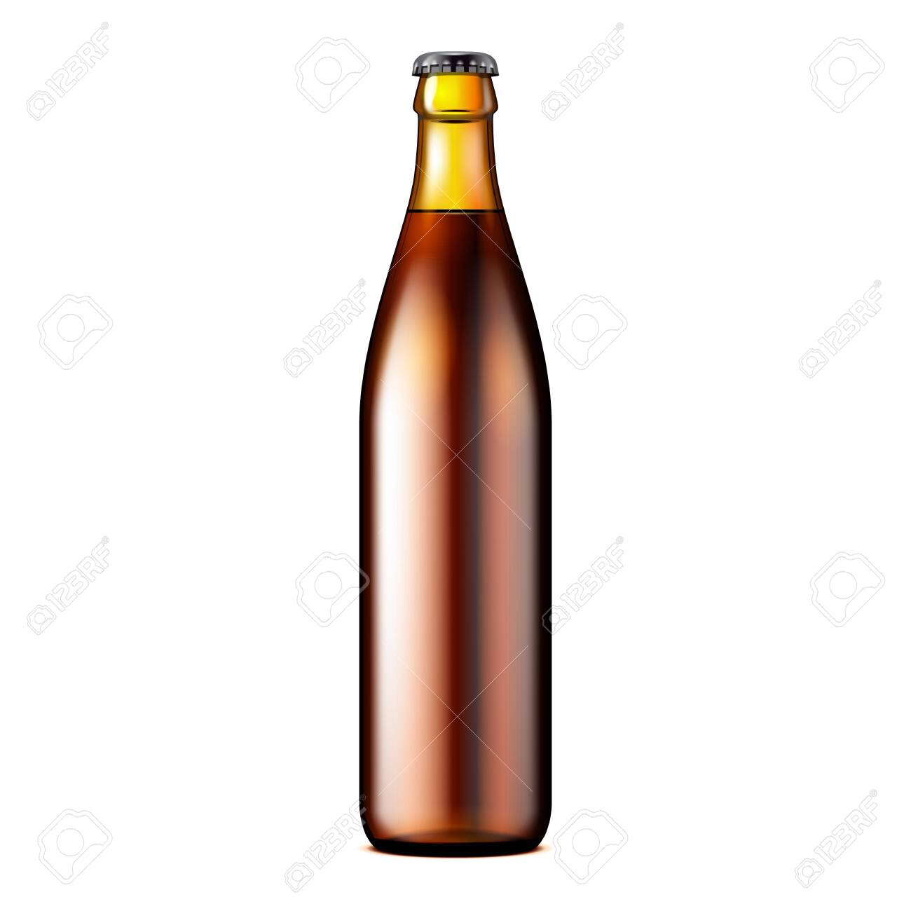 Glass Dark Brown Beer, Ale, Cider Bottle. Carbonated Soft Drink. Mock Up Template. Illustration Isolated On White Background. Ready For Your Design. Product Packaging. Vector EPS10 - 122417118