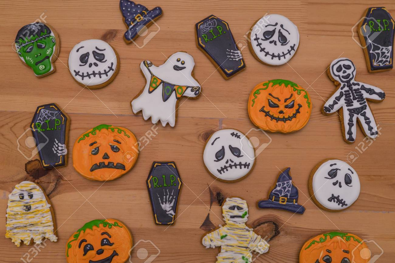 sweet gingerbread emoticons ghosts and pumpkins witches hats on a
