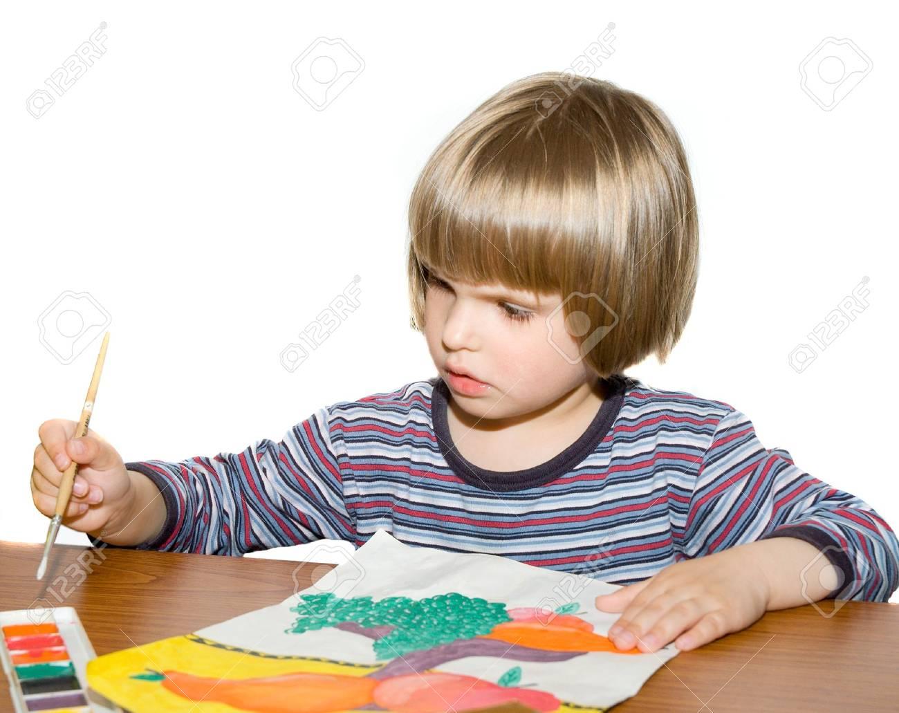 child draws paints Stock Photo - 3058103