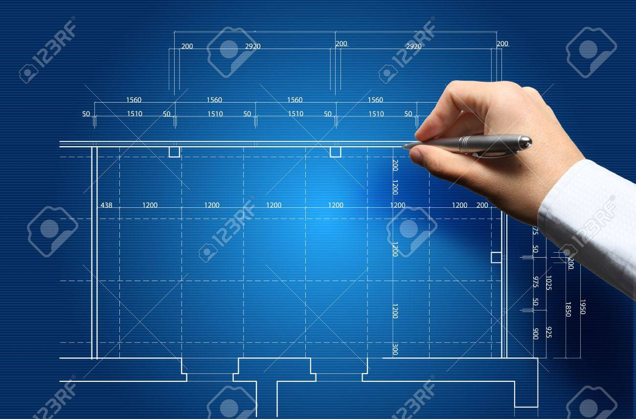 Hand And Blueprint - Engineer Working On Blue Print Concept Stock ...